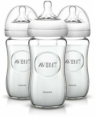 Philips AVENT Natural Glass Bottle, 8 Ounce (Pack Of 3) - New, Fast Shipping