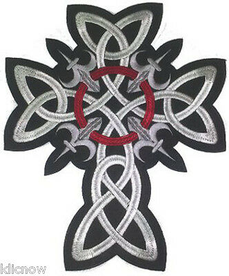 """CELTIC CROSS (Large) EMBROIDERED BACK PATCH 25CM X 30CM (9 1/2"""" X 12"""")"""