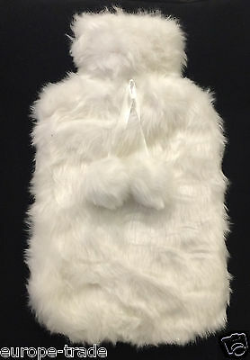 2L Hot Water Bottle Fabulous Quality with White Removable Cover Winter Warm