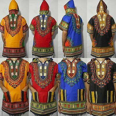 Mens Women African Dashiki Hoodie Hoody Top W/ Hood Traditional Blouse S M L XL