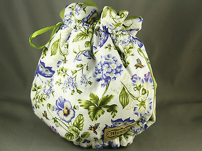 Murchies Tea Cozy by  Honeysuckle Cottage Floral Butterflies Pansies Blue Green
