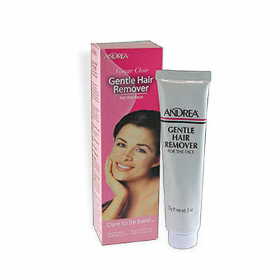 NEW ANDREA gentle Hair Remover for FACE 2oz with Skin Soothing Creme 0.5oz 2-in1