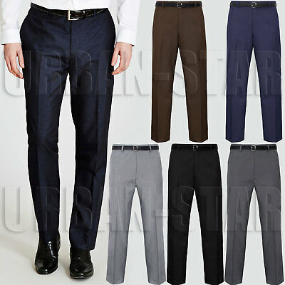 Mens Trousers Office Business Work Formal Casual Smart Belt Pants Big Plus Sizes
