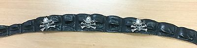 Genuine Crocodile leather hat band , 3 sculls silver antique  in tin box