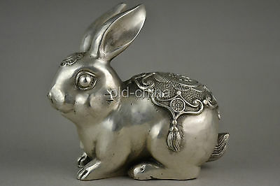 Collectible decorate old tibet silver handwork carve rabbit lucky statue NRRT