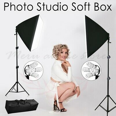 2200W Photography Studio Softbox Lighting Video 4 Head Soft Box Light Stand Kit