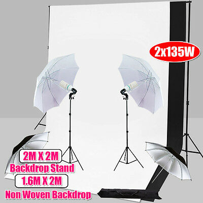 1350W Photography Studio Continuous Umbrella Lighting Backdrops Light Stand Kit