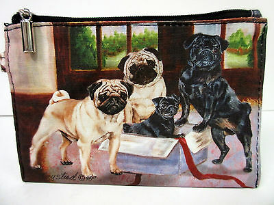 New Pug Dog Zippered Pouch By Ruth Maystead 3 Pugs Dogs