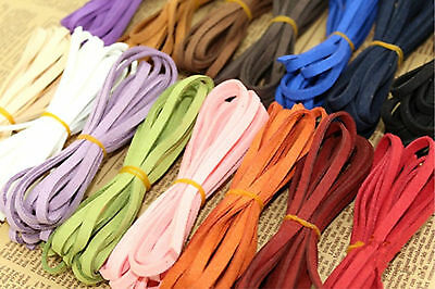 17color 2m Leather Cord Soft Suede Thong Lace Flat Rope Thread String Craft 5mm