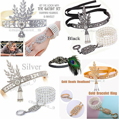1920s Flapper Headband Gatsby Headpiece Bracelet Ring Set Party Hair Accessories