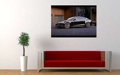 "2015 LARTE TESLA MODEL S NEW A4 CANVAS GICLEE ART PRINT POSTER 11.7/"" x 8.3/"""