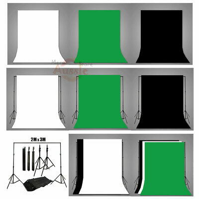 Photography Studio Screen Black White Green Muslin Backdrop Background Stand Kit