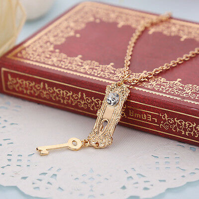 Cosplay Alice in Wonderland golden key cards long necklaces & pendants