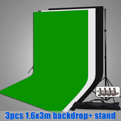 Photography Portable Background Support System Stand 3 Non Woven Backdrops Clamp