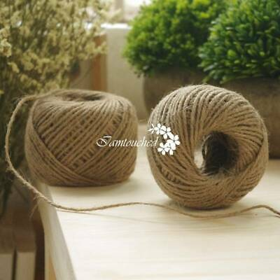 50Yards 2MM Jute Twine Rope Natural Duty Toy CORD Sisal Rustic Shabby Hessian
