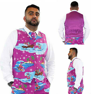 Mens Christmas Fancy Waistcoat & 3D Xmas Tie Deluxe Festive Costumes Casual Vest