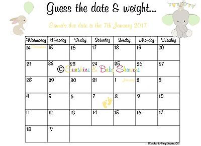 Personalised Guess the Baby's Due Date & Weight Baby Shower Game Elephant Baby