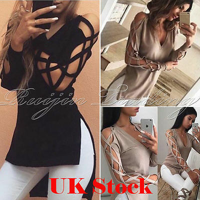 Fashion Womens Ladies Loose V Neck T Shirt Long Sleeve Cotton Tops Shirt Blouse