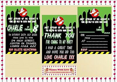 GHOSTBUSTERS BIRTHDAY Party Invitations Thank You Blank Cards X