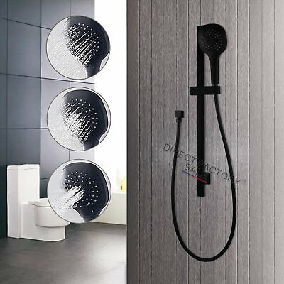 WELS Round Handheld Shower Head With Bracket On Sliding Rail Wall Connector Set