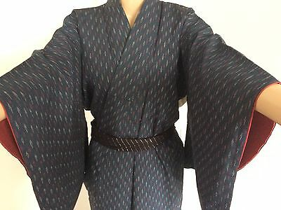 Vintage authentic handmade Japanese kimono, blue, good condition (G336)