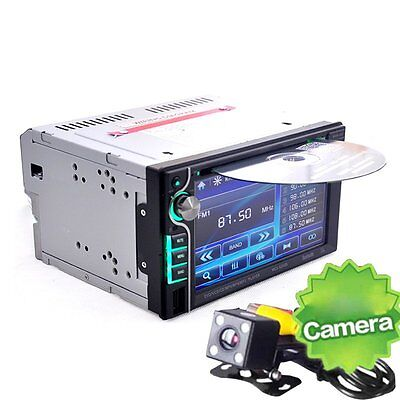 "6.2"" Touchscreen In-dash Double Din Car DVD Player Stereo Bluetooth+Camera"