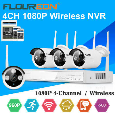 4CH Wireless 1080P HDMI DVR NVR CCTV WIFI IP Camera Outdoor Home Security System