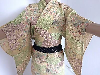Authentic vintage handmade Japanese women's kimono, silk, yellow/flowers (G338)
