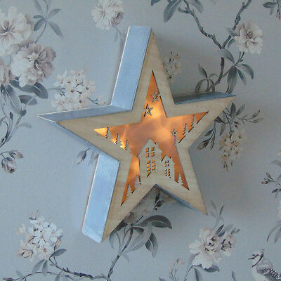 White Light Up Christmas Star Wooden LED Festive Decoration Xmas Accessory Home