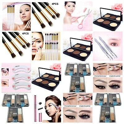 4pcs 2 Cat Eyes 2 Smoky Stencils Eyeliner Guide Cats Eye Shadow Makeup Brush Set