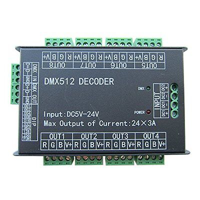 Colorful-USA High Power 24 Channel RGB 3A/CH DMX512 Controller Led Decoder