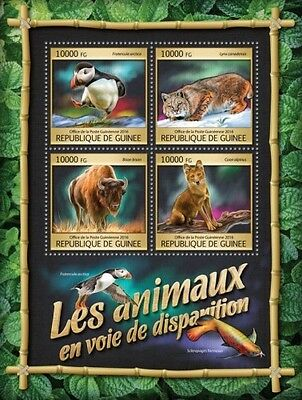 Z08 IMPERFORATED GU16309a GUINEA (Guinee) 2016 Endangered animals MNH