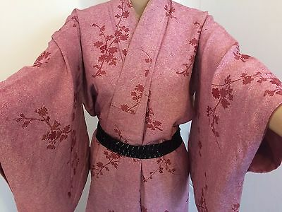 Authentic vintage handmade Japanese silk kimono for women, pink/flowers (G343)