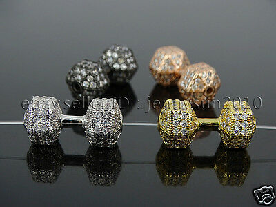 Clear Zircon Gemstones Pave Dumbbell Bracelet Connector Charm Beads Silver Gold