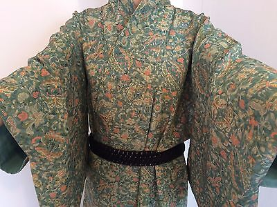 Authentic vintage handmade Japanese women's kimono, silk, green/butterfly(G344)