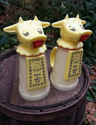 """Vintage Pair Whirley Industries Yellow Cow Sippy Straw Cup """"N"""" Creamer Kids USA"""