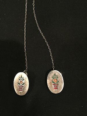 Sterling Silver R. Blackinton & Co. Sweater Clips Floral Design