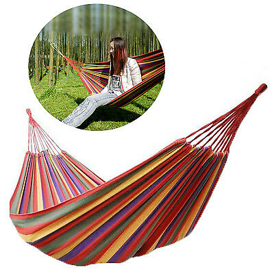 Garden Outdoor Travel Swing Chair Camping Single Double Bed Patio Canvas Hammock