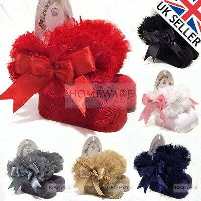 Girls Baby Tutu Socks Spanish Satin Bow Socks Soft Frilly Tulle Kids Ages 0-6 Y
