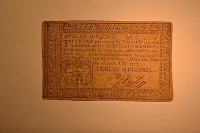 April 10, 1777 Pennsylvania Colonial Note- Twelve Shillings- Fine/VF