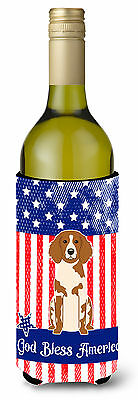 Patriotic USA Brittany Spaniel Wine Bottle Beverge Insulator Hugger