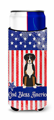 Patriotic USA Greater Swiss Mountain Dog Michelob Ultra Hugger for slim cans