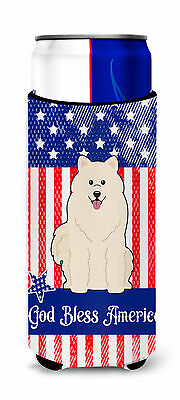 Patriotic USA Samoyed Michelob Ultra Hugger for slim cans