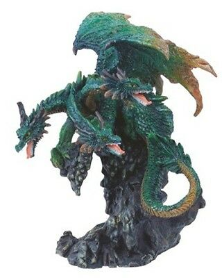 "4.5"" Inch Three Headed Green Dragon Statue Figurine Figure Fantasy Myth"