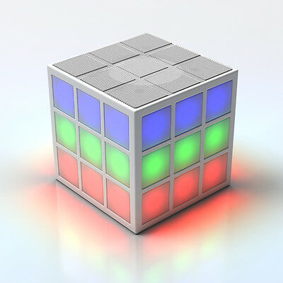 NEW GENUINE Rubiks Bluetooth LED Speaker with Built-in 360 degree Light Show in