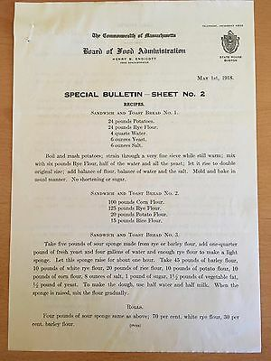 1918 WWI RATIONING Wheat-Free Cake & Bread Recipes Boston US FOOD ADMINISTRATION