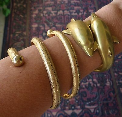 Vintage 2 Bracelet Lot Hinged Dolphin Bangle & Tall Spiral Cuff