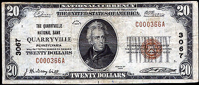 1929 $20 The Quarryville Nb Of Quarryville, Pa National Currency Ch. #3067