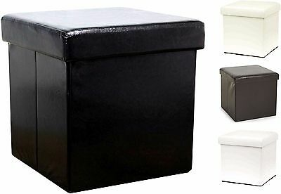 New Square Foldflat Foldaway Faux Leather Ottoman Storage Chest Box Room Tidy