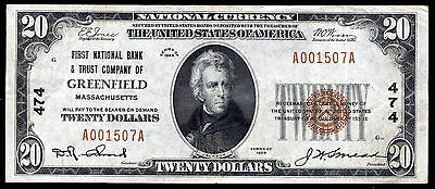 1929 $20 First Nb & Trust Co. Of Greenfield, Ma National Currency Ch. #474 Vf+